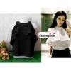 เสื้อผ้าแฟชั่น เสื้อทำงาน ผ้าฮานาโกะ สีดำ แขนกุด แต่งระบายอก สวยเปรี้ยวปนหวาน เว้าไหล่ แบบสวยมากๆค่ะ
