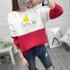 เสื้อแขนยาวแฟชั่นพร้อมส่ง เสื้อแขนยาวแต่งสีขาวสลับแดง แต่งสกรีนลายยิ้ม Smile +พร้อมส่ง+