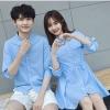 ชุดคู่รัก เสื้อคู่รักเกาหลี ชายเสื้อเชิ้ตแขนยาว + หญิง เดรสเชิ๊ตแขนยาว สีฟ้า +พร้อมส่ง+
