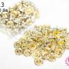 ตัวแต่งคั่นเพชร สีขาว ขอบทอง 10มิล(1ห่อ/100ชิ้น)