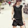 เสื้อผ้าแฟชั่นสไตส์เกาหลี เสื้อแขนกุด สีดำ แต่งแถบคอสีขาว +พร้อมส่ง+