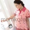 MS175 เสื้อคลุมท้องแฟชั่น โทนสีชมพู คอปกสีชมพู เนื้อผ้านิ่มค่ะ ใส่สบายค่ะ