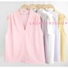 เสื้อแฟชั่นผ้าฮานาโกะ แขนกุด คอวี (สีชมพู) จับจีบไหล่ ทรงสวยเรียบหรู สินค้าคุณภาพดี ใส่ได้ทุกโอกาส