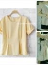 เสื้อแฟชั่นผ้าฮานาโกะ สีเหลือง จีบเอว เข้ารูป ทรงสวย พับแขนเก๋ๆ แบบสวยเรียบหรู