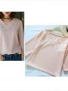 เสื้อผ้าฮานาโกะ แขนสามส่วน คอวี สีโอรส แบบสวยเรียบหรูสไตล์เกาหลี