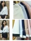เสื้อแขนสามส่วน (สีนู้ด) โทนสีพาลเทส คอวี กุ้นขอบสีตัดทูโทน แบบสวยน่ารักๆ