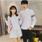ชุดคู่รัก เสื้อคู่รักเกาหลี เสื้อผ้าแฟชั่น ชายเสื้อเชิ้ตแขนยาวโทนฟ้าขาว + หญิง เดรสแขนยาว โทนฟ้าขาว +พร้อมส่ง+