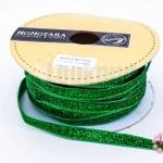 เชือกผ้า ริบบิ้นกำมะยี่ สีเขียวกากเพชร (1เส้น/1หลา)