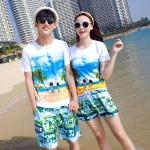 เสื้อคู่รัก ชุดคู่รักเที่ยวทะเลชาย +หญิง เสื้อยืดสีขาวลายคู่รักสวีทเที่ยวทะเล กางเกงขาสั้นสีเขียว +พร้อมส่ง+