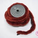 พู่ไหมพรม หางกระรอก สีน้ำตาลแดง กว้าง 4ซ.ม(1หลา/90ซ.ม)