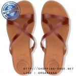 US5 : Fitflop Strata Leather Slide Sandal Cognac ของแท้ นำเข้าจาก USA และ UK