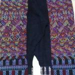 กางเกงปักมือ โทนสีฟ้าสีตกชมพู ยังคงลายผ้าเดิม