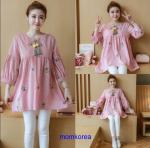 K115340 เสื้อคลุมท้องแฟชั่้นเกาหลี โทนสีชมพูแต่งลายปักรูปสัปรด