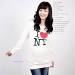เสื้อคลุมท้องแขนยาว สกีนลาย I LOVE NY : สีขาว รหัส SH146