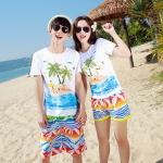 เสื้อคู่รัก ชุดคู่รักเที่ยวทะเลชาย +หญิง เสื้อยืดสีขาวลายคนติดเกาะ กางเกงขาสั้นลายไทยโทนสีส้ม +พร้อมส่ง+