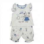 ชุดเสื้อแขนระบาย+กางเกง PAPA(SDC-3003) ลายหมี ฟ้า | สินค้าหมด