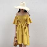 เสื้อผ้าแฟชั่นสไตส์เกาหลี เดรสสายเดี่ยว สีเหลือง แต่งจั้มแขน ผูกเอว +พร้อมส่ง+
