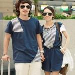 ชุดคู่รัก เสื้อคู่รักเกาหลี เสื้อผ้าแฟชั่น ผู้ชายเสื้อสีน้ำเงิน + หญิง เอี๊อมจัมสูทขาสั้น แขนสั้น สีน้ำเงิน