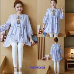 K1153401 เสื้อคลุมท้องแฟชั่้นเกาหลี โทนสีฟ้า
