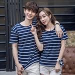 +พร้อมส่ง+ เสื้อคู่รักเกาหลี แฟชั่นคู่รัก ชายหญิง เสื้อยืดคอกลม ลายริ้ว สีน้ำเงินสลับขาว