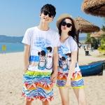 เสื้อคู่รัก ชุดคู่รักเที่ยวทะเลชาย +หญิง เสื้อยืดสีขาวลายสวีทริมทะเล กางเกงขาสั้นลายไทยโทนสีส้ม +พร้อมส่ง+
