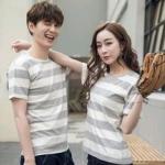 +พร้อมส่ง+ เสื้อคู่รักเกาหลี แฟชั่นคู่รัก ชายหญิง เสื้อยืดคอกลม ลายริ้วใหญ่ สีเทาสลับขาว