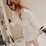 เสื้อแซกเชิ๊ตแฟชั่นชุดทำงานพร้อมส่ง  เสื้อแซกเซิ๊ตแขนยาวดีไซต์เก๋สไตส์เกาหลี จั้มเอว สีขาว  +พร้อมส่ง+