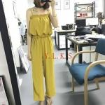 เสื้อผ้าแฟชั่นสไตส์เกาหลี แซกจั้มสูทสายเดี่ยว สีเหลือง +พร้อมส่ง+