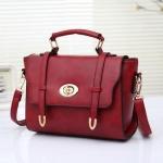 กระเป๋าแฟชั่นเกาหลีพร้อมส่ง รหัส SUIF0158RD สีแดง ตัวล๊อคแบบหมุน แบบเรียบหรู ดูดีค่ะ