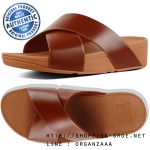 US7 : Fitflop Lulu Leather Cross Slide Sandal Cognac ของแท้ นำเข้าจาก USA และ UK