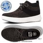US8 : Fitflop Uberknit Hi Top Sneaker Black / Bronze Metallic ของแท้ นำเข้าจาก USA และ UK