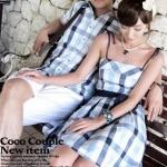 ชุดคู่รัก เสื้อคู่รักเกาหลี เสื้อผ้าแฟชั่น ชายเสื้อเชิ๊ต + หญิงเป็นชุดแซกสายเดี่ยว ลายสก๊อต +พร้อมส่ง+