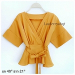 เสื้อทรงกิโมโน สีเหลืองมัสตาร์ด เสื้อทำงาน ป้ายข้างผูกโบว์ สม็อกเอวด้านหลัง แบบสวยเนี๊ยบเรียบหรู