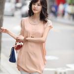 MS195 เสื้อคลุมท้อง แฟชั่นเกาหลี โทนสีเนื้อ ตรงแขนแต่งด้วยมุก เนื้อผ้าซีฟองอย่างดี ใส่สบายค่ะ