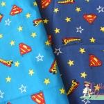 ผ้าคอตตอนลินินญี่ปุ่น ลาย Superman มี 2 สีค่ะ
