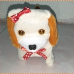 ตุ๊กตาหมาของเล่นเด็ก เดินได้ เห่าได้ กระดิกหาง มีไฟที่ตา (สีน้ำตาลอ่อน)