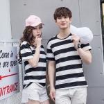 +พร้อมส่ง+ เสื้อคู่รักเกาหลี แฟชั่นคู่รัก ชายหญิง เสื้อยืดคอกลม ลายริ้วใหญ่ สีดำสลับขาว