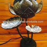 Coconut Shell Lamp (โคมไฟกะลามะพร้าวทรงดอกบัวฉลุลายไทย)