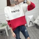 เสื้อแขนยาวแฟชั่นพร้อมส่ง เสื้อแขนยาวแต่งสีขาวสลับแดง แต่งสกรีนลาย Hello +พร้อมส่ง+