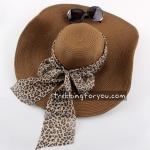 หมวกแฟชั่นเกาหลี หมวกกันแดดทรงปีกกว้าง : สีน้ำตาล MN010
