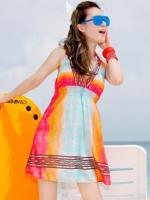 PRE ชุดว่ายน้ำบิกินี่ เซ็ต 3 ชิ้น บราสายคล้องคอ สลับสี พร้อมชุดคลุมแซกสม็อกใต้อกสีสันสวย