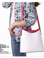 กระเป๋า axixi หนัง PU เกรดA สีขาวแต่งด้านในด้วยสีชมพูบานเย็น (รับประกันเหมือนแบบ 100%)