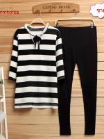 K6010 เสื้อ+กางเกงคลุมท้อง โทนสีขาวสลับดำ ตัวเสื้อสีขาวสลับดำ เนื้อผ้าขอบอกว่านิ่มมากๆ ค่ะ