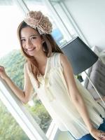 เสื้อแฟชั่นเกาหลี ผ้าชีฟอง แต่ระบายที่หน้าอก คอผูกเป็นโบร์น่ารัก สีแอปริคอท