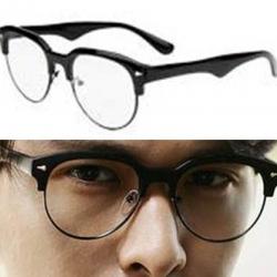 กรอบแว่นตาแฟชั่นขากิ่งไม้ แบบกึ่งโลหะ ครึ่งกรอบ (ดำ)