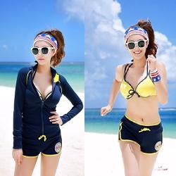 พร้อมส่ง ชุดว่ายน้ำแขนยาวสีน้ำเงินกรมท่าเข้ม กางเกงขาสั้น พร้อมบราสีเหลือง เซ็ต 3 ชิ้น