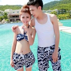พร้อมส่ง ชุดว่ายน้ำคู่รัก ชุดว่ายน้ำบิกินี่ สายคล้องคอ ลายโซ่ขาว พื้นกรมท่าสวยๆ