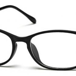กรอบแว่นสายตาแฟชั่น กรอบบาง เรโทร วินเทจ กึ่งโลหะ แต่งขาเข้ามุม สี ดำเงา