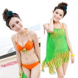 พร้อมส่ง ชุดว่ายน้ำบิกินี่ เซ็ต 3 ชิ้น สายคล้องคอ โทนสีส้มสดใส แต่งโบว์น่ารัก พร้อมชุดแซกผ้าซีทรูสีเขียวสวย