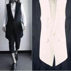 +เล็กพิเศษ เสื้อกั๊กแฟชั่นตัวยาว Size No.33 35 37 39 41 42 สีขาว ดำ